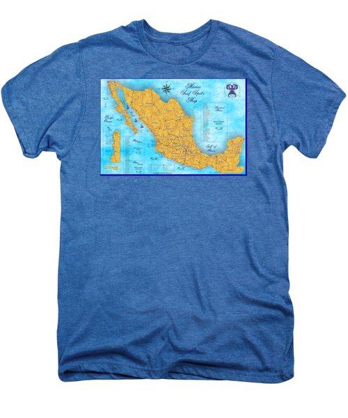 Mexico Surf Map  Men's Premium T-Shirt by Lucan Hirales