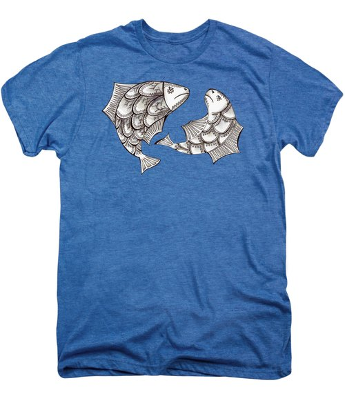 Two Ink Pen Graphic Hand Drawn Black And White Fish Men's Premium T-Shirt