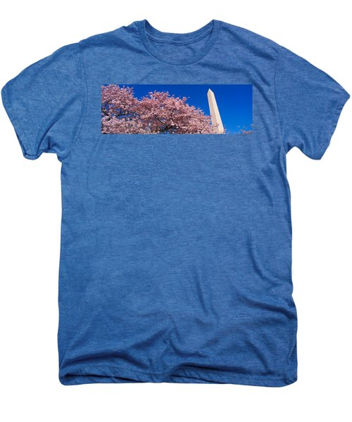Washington Monument & Spring Cherry Men's Premium T-Shirt by Panoramic Images