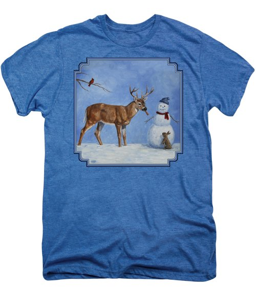 Whitetail Deer And Snowman - Whose Carrot? Men's Premium T-Shirt by Crista Forest