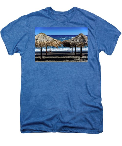 Wood Thatch Umbrellas On Black Sand Beach, Perissa Beach, In Santorini, Greece Men's Premium T-Shirt