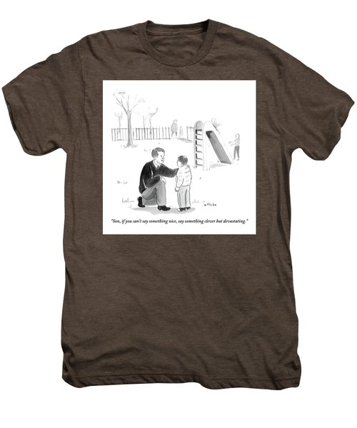 A Father Encourages His Son At The Playground Men's Premium T-Shirt