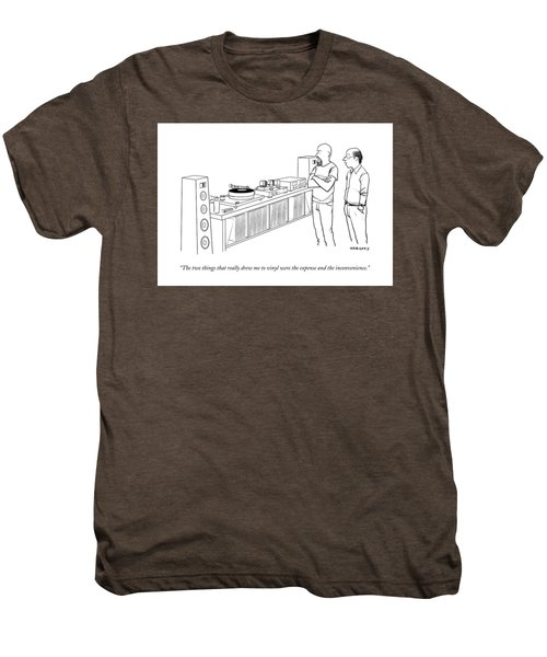 A Man Shows Another Man His Extensive Collection Men's Premium T-Shirt