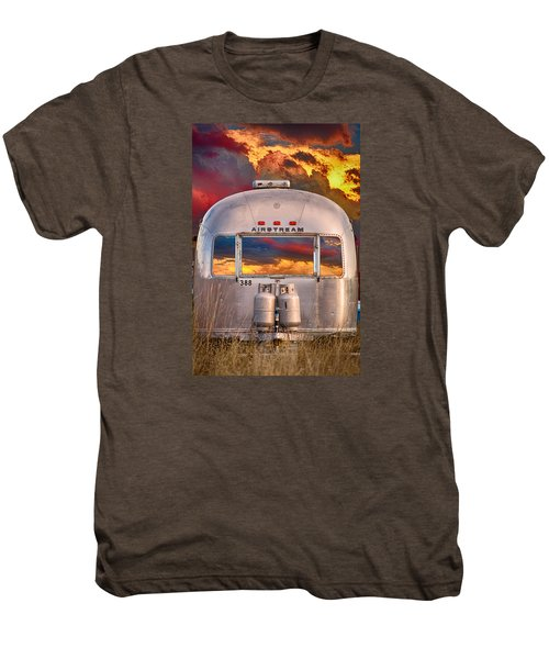 Airstream Travel Trailer Camping Sunset Window View Men's Premium T-Shirt