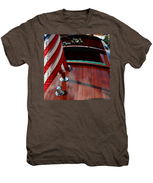 Chris Craft With Flag And Steering Wheel Men's Premium T-Shirt by Michelle Calkins