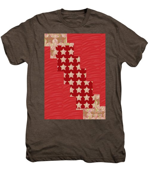 Cross Through Sparkle Stars On Red Silken Base Men's Premium T-Shirt