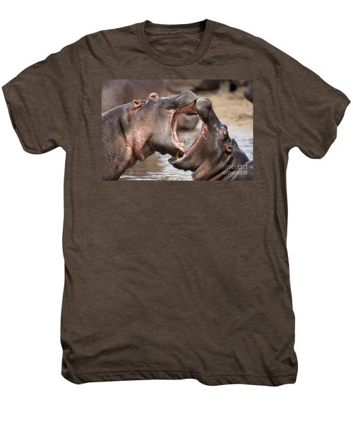 Fighting Hippos Men's Premium T-Shirt by Richard Garvey-Williams