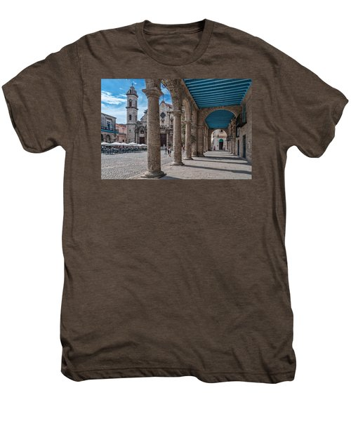Havana Cathedral And Porches. Cuba Men's Premium T-Shirt