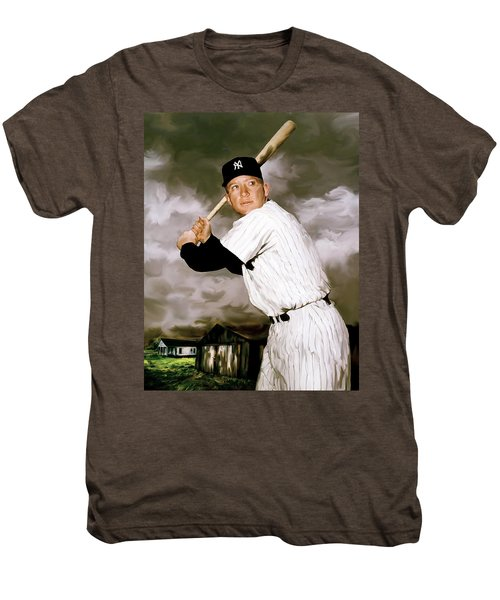 American Fabric   Mickey Mantle Men's Premium T-Shirt by Iconic Images Art Gallery David Pucciarelli