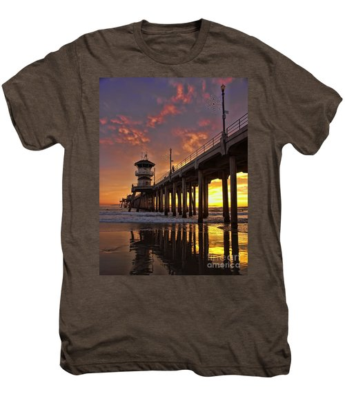 Huntington Beach Pier Men's Premium T-Shirt by Peggy Hughes