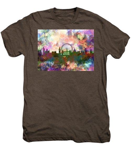 London Skyline Watercolor Men's Premium T-Shirt