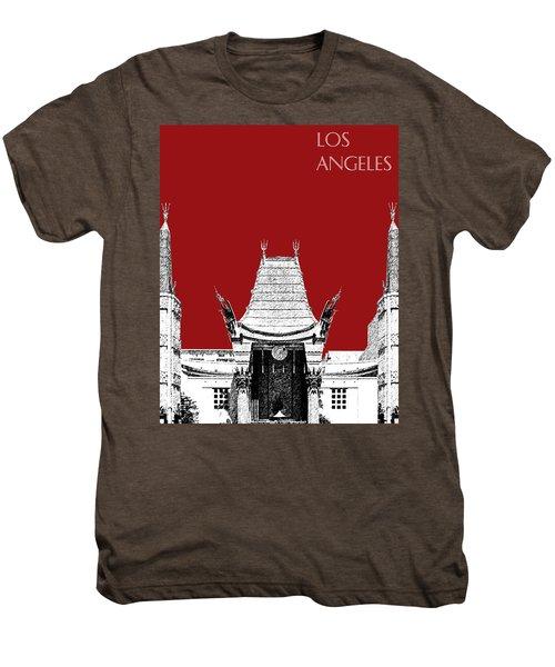 Los Angeles Skyline Graumans Chinese Theater - Dark Red Men's Premium T-Shirt