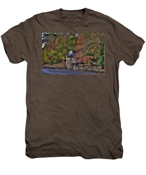 Men's Premium T-Shirt featuring the photograph Old Stone Tower At The Edge Of The Forest by Jonny D