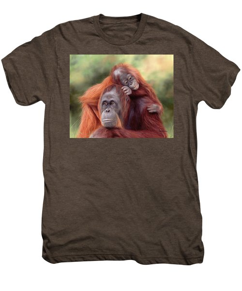Orangutans Painting Men's Premium T-Shirt by Rachel Stribbling