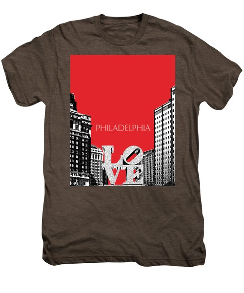 Philadelphia Skyline Love Park - Red Men's Premium T-Shirt