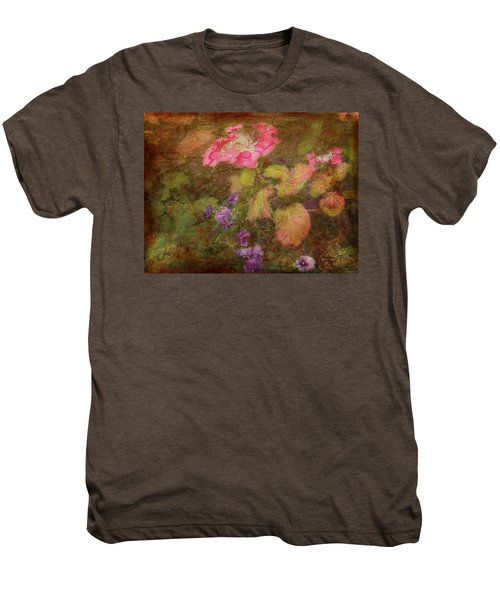 Pink Hydrangea And Purple Pansies Men's Premium T-Shirt