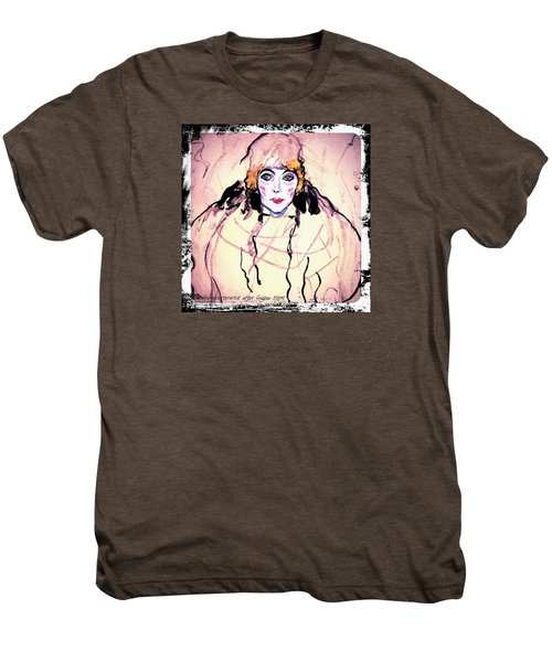 Portrait Of A Lady En Face After Gustav Klimt Men's Premium T-Shirt