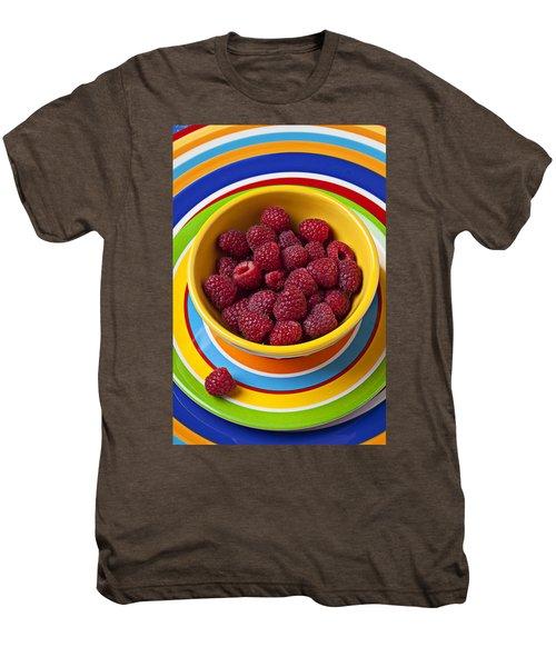 Raspberries In Yellow Bowl On Plate Men's Premium T-Shirt