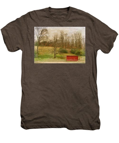 Red Shed Men's Premium T-Shirt by Paulette B Wright