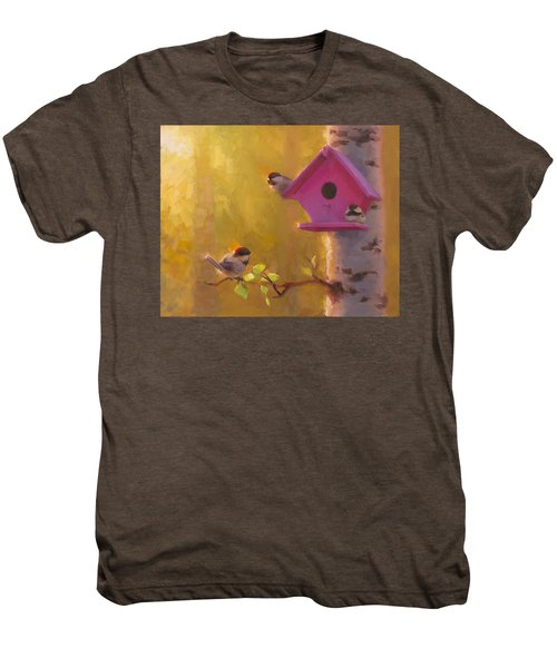 Spring Chickadees 1 - Birdhouse And Birch Forest Men's Premium T-Shirt