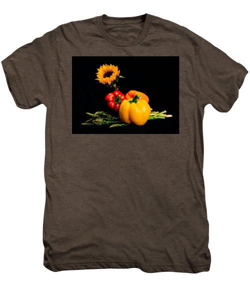 Still Life Peppers Asparagus Sunflower Men's Premium T-Shirt by Jon Woodhams