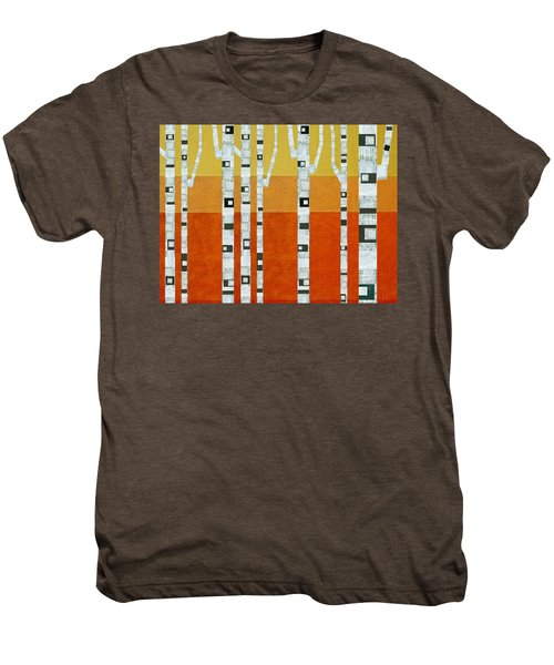 Men's Premium T-Shirt featuring the painting Sunset Birches by Michelle Calkins