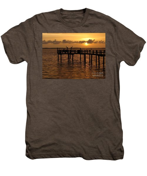 Sunset On The Dock Men's Premium T-Shirt by Peggy Hughes