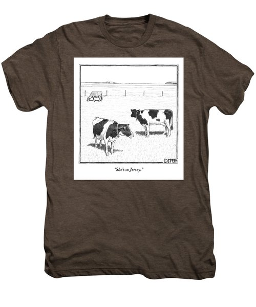 Two Spotted Cows Looking At A Jersey Cow Men's Premium T-Shirt