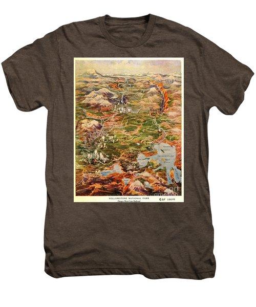 Vintage Map Of Yellowstone National Park Men's Premium T-Shirt