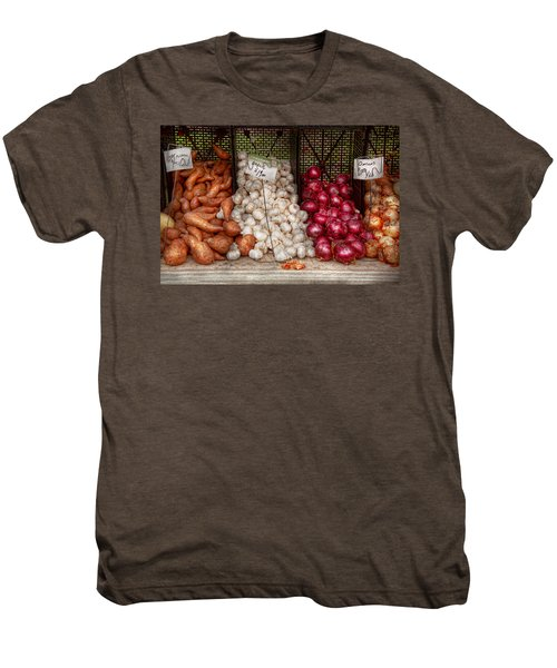 Food - Vegetable - Sweet Potatoes-garlic- And Onions - Yum  Men's Premium T-Shirt by Mike Savad