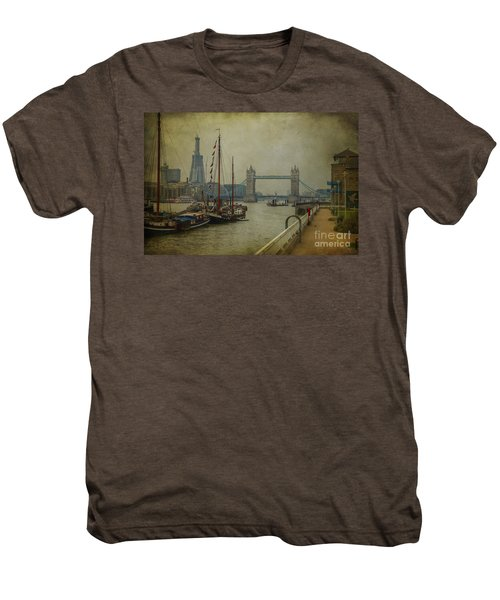 Men's Premium T-Shirt featuring the photograph Moored Thames Barges. by Clare Bambers