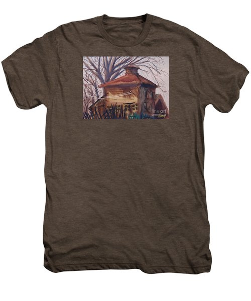 Men's Premium T-Shirt featuring the painting Old Garage by Rod Ismay