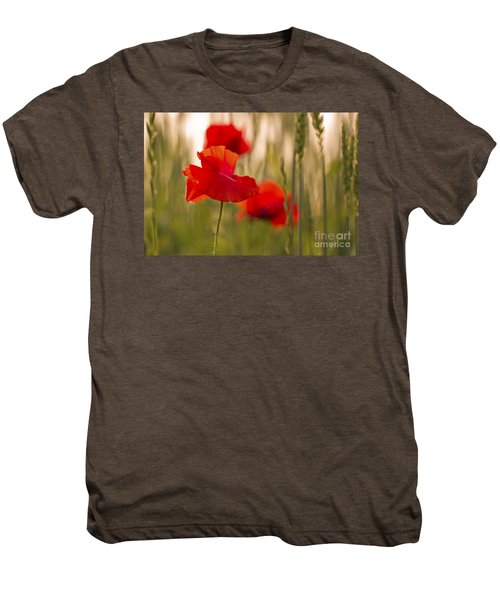 Men's Premium T-Shirt featuring the photograph Sunset Poppies. by Clare Bambers