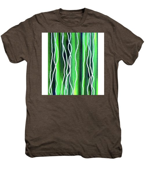 Abstract Lines On Green Men's Premium T-Shirt