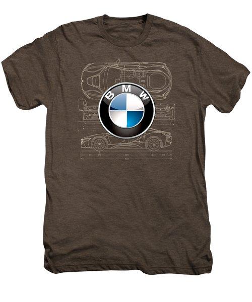 B M W 3 D Badge Over B M W I8 Blueprint  Men's Premium T-Shirt