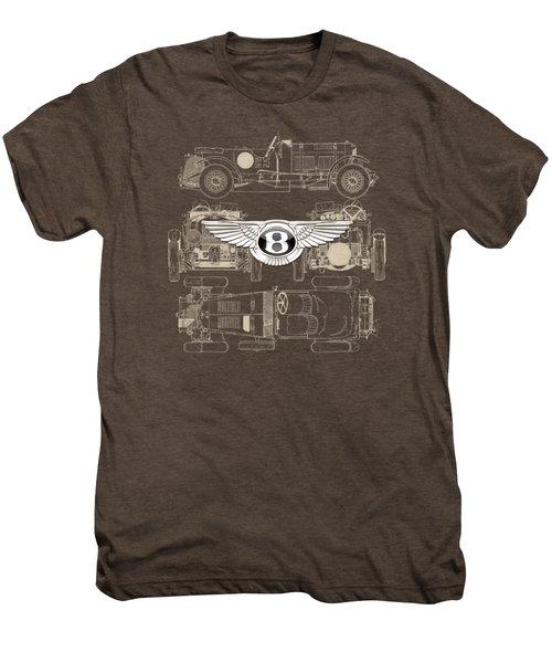 Bentley - 3 D Badge Over 1930 Bentley 4.5 Liter Blower Vintage Blueprint Men's Premium T-Shirt
