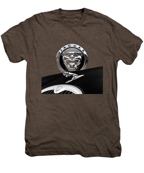 Black Jaguar - Hood Ornaments And 3 D Badge On Red Men's Premium T-Shirt