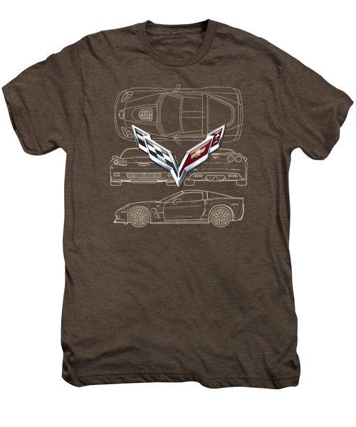 Chevrolet Corvette 3 D Badge Over Corvette C 6 Z R 1 Blueprint Men's Premium T-Shirt
