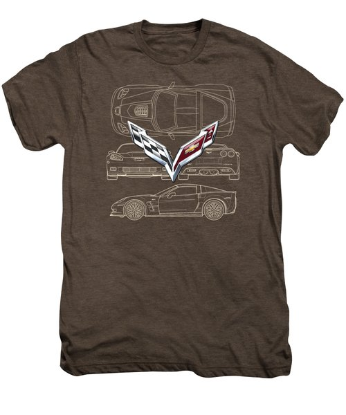 Chevrolet Corvette 3 D Badge Over Corvette C 6 Z R 1 Blueprint Men's Premium T-Shirt