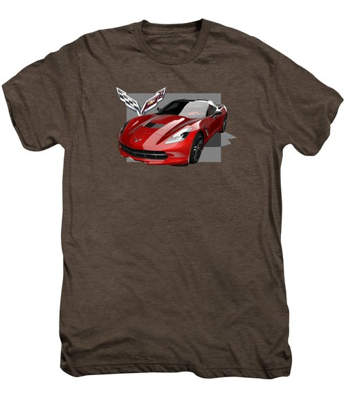 Chevrolet Corvette  C 7  Stingray With 3 D Badge  Men's Premium T-Shirt