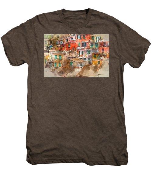 Colorful Homes In Cinque Terre Italy Men's Premium T-Shirt