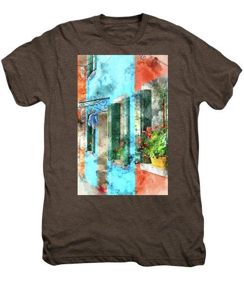 Colorful Houses In Burano Island Venice Italy Men's Premium T-Shirt