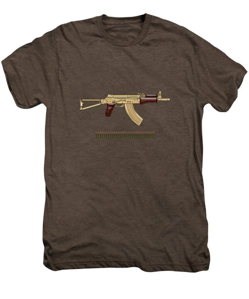 Gold A K S-74 U Assault Rifle With 5.45x39 Rounds Over Red Velvet   Men's Premium T-Shirt