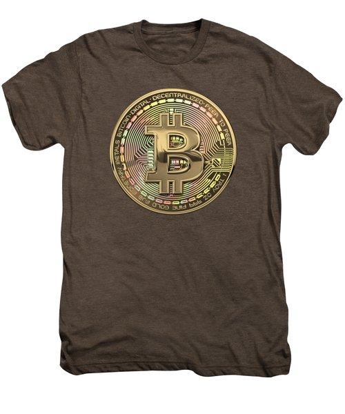 Gold Bitcoin Effigy Over White Leather Men's Premium T-Shirt