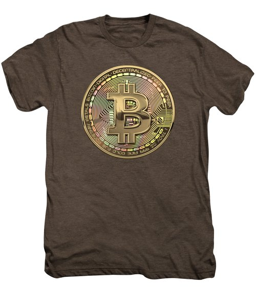 Gold Bitcoin Effigy Over White Leather Men's Premium T-Shirt