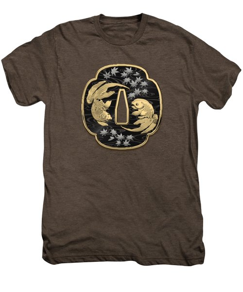 Japanese Katana Tsuba - Twin Gold Fish On Black Steel Over White Leather Men's Premium T-Shirt