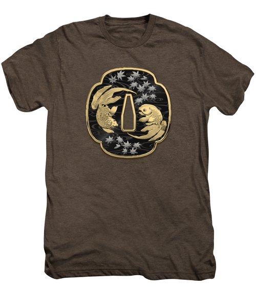 Japanese Katana Tsuba - Twin Gold Fish On Black Steel Over White Leather Men's Premium T-Shirt