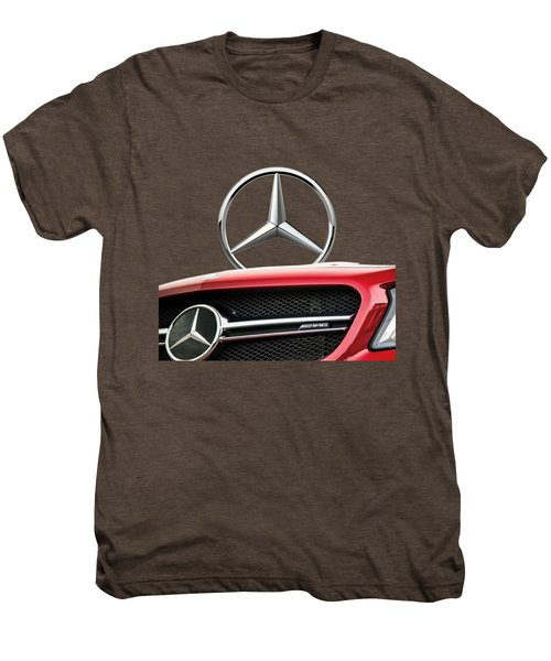 Red Mercedes - Front Grill Ornament And 3 D Badge On Black Men's Premium T-Shirt