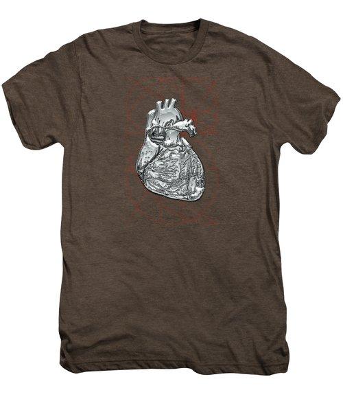 Silver Human Heart On Black Canvas Men's Premium T-Shirt