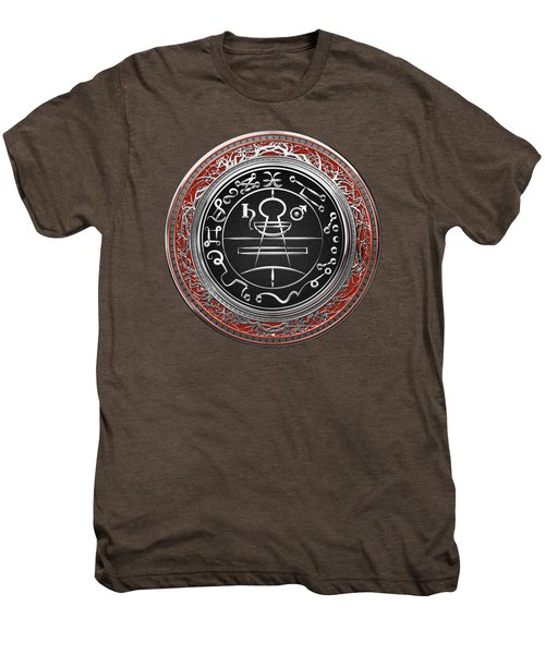 Silver Seal Of Solomon - Lesser Key Of Solomon On Red Velvet  Men's Premium T-Shirt
